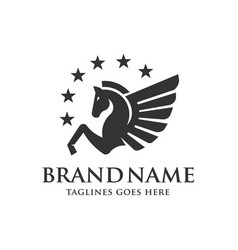 winged pegasus with stars logo vector image