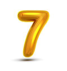 7 seven number golden yellow metal letter vector image