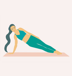 A woman doing side plank over exercise mat vector