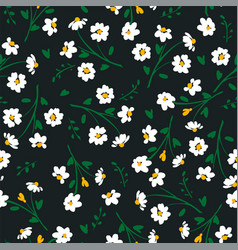 Abstract floral seamless pattern with chamomile vector