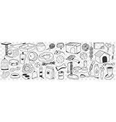 Accessories and toys for dogs doodle set vector