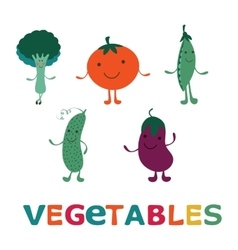 Adorable vegetable cartoon characters set happy vector