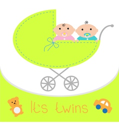 bacarriage its twins boy and girl shower card vector image