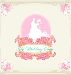 Ballroom dancers silhouettes - wedding invitation vector