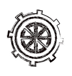Blurred thick contour gear wheel icon vector