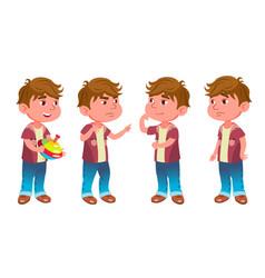 Boy kindergarten kid poses set childhood vector