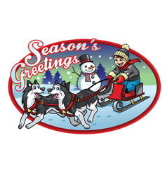 boy riding the sleigh with his huskies dogs vector image