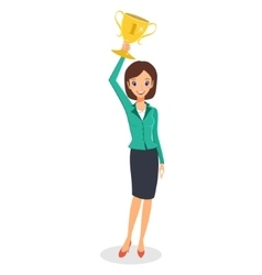 Business woman winner holding up trophy vector image