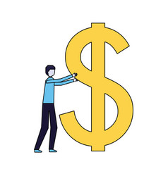 businessman holding big dollar symbol vector image