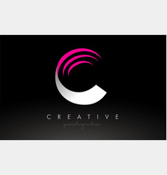 C white and pink swoosh letter logo letter design vector