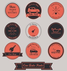 Car Auto Parts Vintage Label Design vector