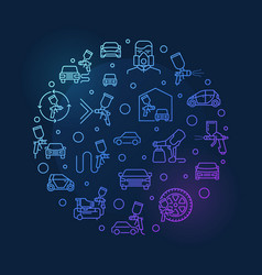 Car body painting round outline blue vector
