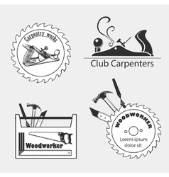 Carpentry works icons flat set with tools vector