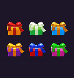 cartoon different gift box objects vector image