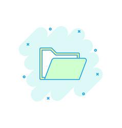 Cartoon folder document icon in comic style vector