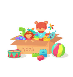 cartoon kids toys in cardboard toy box children vector image