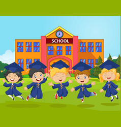cartoon little children graduation celebration on vector image