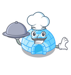 Chef with food igloo ice house isolated on mascot vector