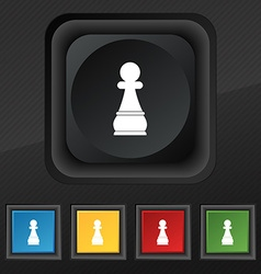 Chess Pawn icon symbol Set of five colorful vector image