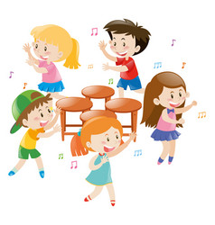 children playing music chair vector image