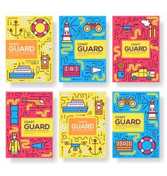 coast guard brochure cards thin line set vector image