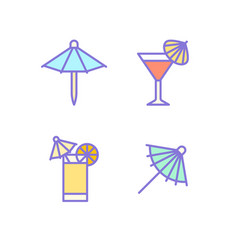 cocktail umbrella flat line icons cold summer vector image