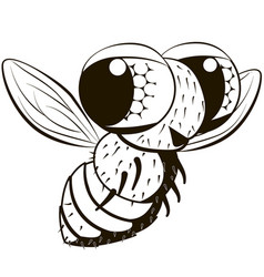 comical monochrome fly vector image