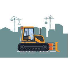 construction city build and bulldozer vector image