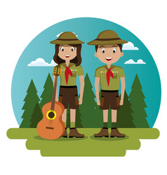 Couple scouts in the camping zone scene vector