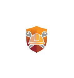 creative architect hardhat wrench tools logo vector image