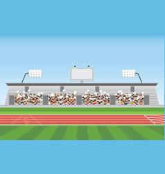 Crowd in stadium grandstand to cheering sport vector
