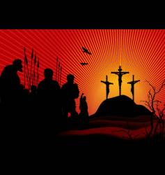 Crucifixion in red vector