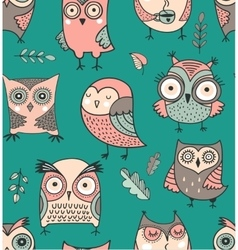 Cute hand drawn owl seamless pattern vector
