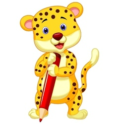 Cute leopard cartoon holding red pencil vector image