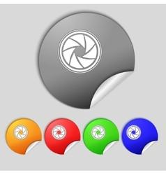 Diaphragm icon Aperture sign Set colourful buttons vector