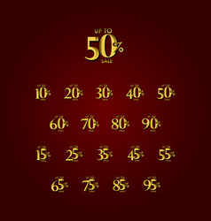 Discount sale label up to 50 red gold template vector