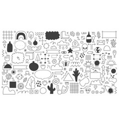 Doodle outline elements abstract sketches vector