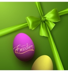 Easter Eggs With Holiday Golden Lettering vector image