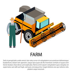farmer with a pitchfork near harvesting car vector image
