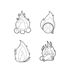 Fire icon set outline style vector