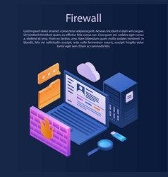 Firewall protection concept background isometric vector