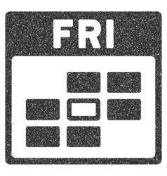 Friday Calendar Grid Grainy Texture Icon vector