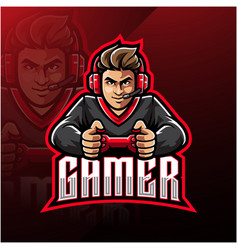 Gamer esport mascot logo design vector