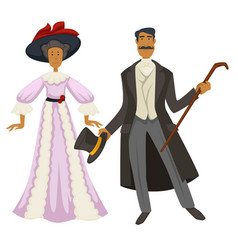 gentleman and lady 1900s vintage fashion style vector image