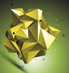 Gold abstract asymmetric object with lines mesh vector
