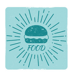 grunge food hipster badge burger vector image