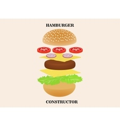 Hamburger or burger constructor isolated on vector image