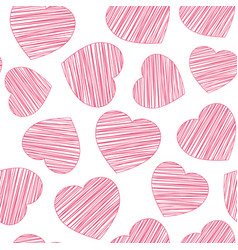 hand drawn hatching red heart seamless pattern vector image