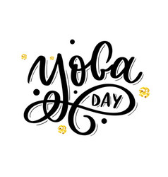 Hand drawn lettering yoga on white background vector