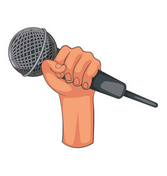Hand holding microphone icon cartoon style vector